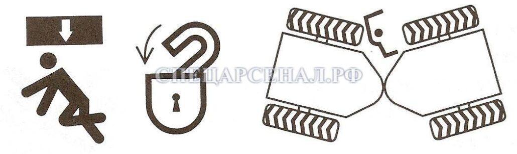 Водителю и другим рабочим запрещено располагаться между вращающимися или подвижными узлами погрузчика