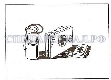 Применение огнетушителя и аптечки